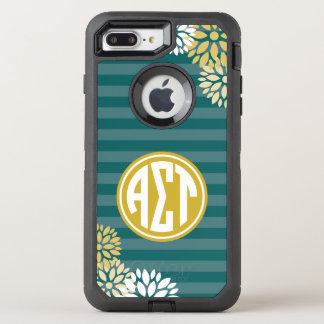 Alpha Sigma Tau | Monogram Stripe Pattern OtterBox Defender iPhone 8 Plus/7 Plus Case
