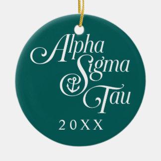 Alpha Sigma Tau Vertical Mark Round Ceramic Ornament