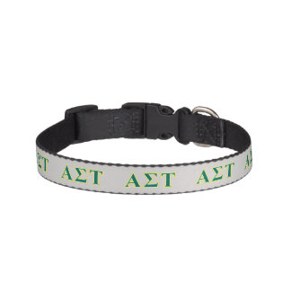 Alpha Sigma Tau Yellow and Green Letters Pet Collar