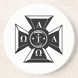 Alpha Tau Omega Badge Black & White Coaster