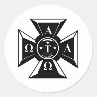 Alpha Tau Omega Badge Black & White Round Sticker