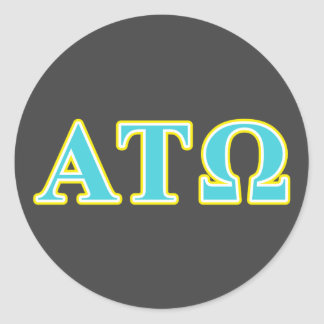 Alpha Tau Omega Blue and Yellow Letters Classic Round Sticker