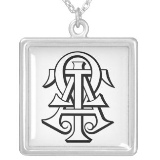 Alpha Tau Omega Interlocked Letters Silver Plated Necklace