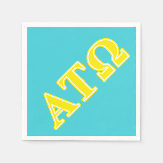 Alpha Tau Omega Yellow Letters Paper Napkins