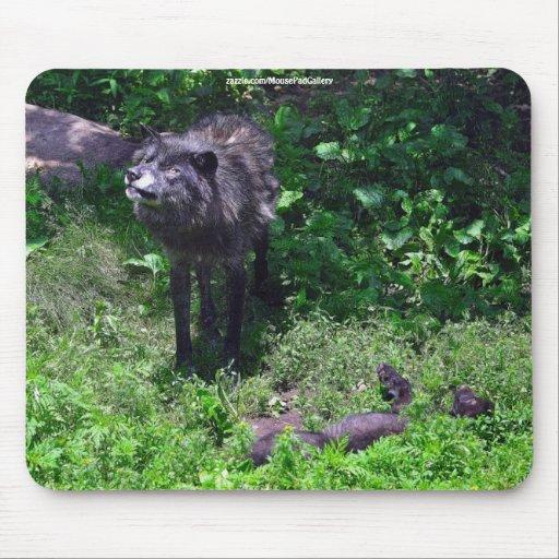 Alpha Timber Wolf & Grey Wolf Cub Wildlife Art Mousepads