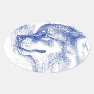 Alpha Wolves Love Art Oval Sticker