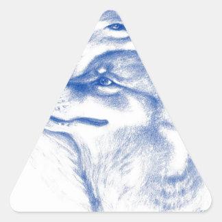 Alpha Wolves Love Art Triangle Sticker