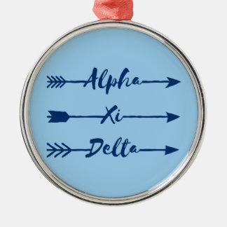 Alpha Xi Delta Arrow Metal Ornament