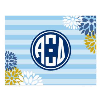 Alpha Xi Delta | Monogram Stripe Pattern Postcard