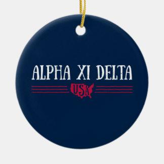 Alpha Xi Delta USA Ceramic Ornament