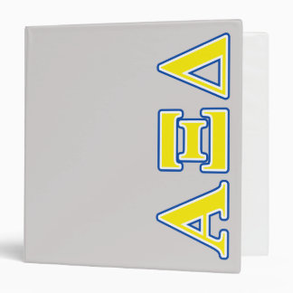 Alpha Xi Delta Yellow and Blue Letters Binder