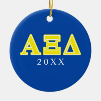 Alpha Xi Delta Yellow Letters Ceramic Ornament