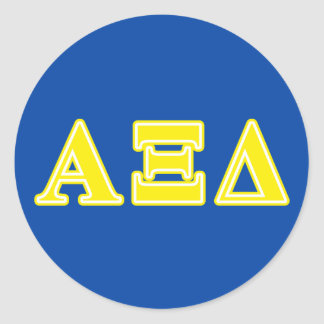 Alpha Xi Delta Yellow Letters Classic Round Sticker
