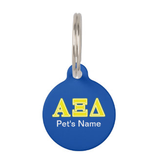 Alpha Xi Delta Yellow Letters Pet Tag