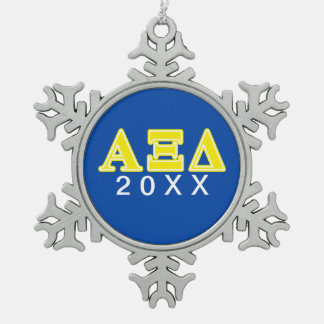 Alpha Xi Delta Yellow Letters Snowflake Pewter Christmas Ornament