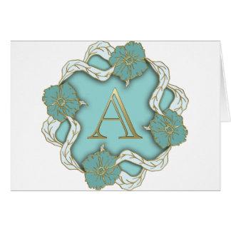 alphabet A monogram Card