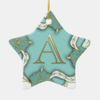 alphabet A monogram Ceramic Ornament
