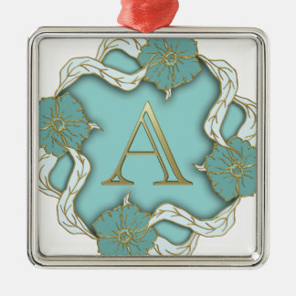 alphabet A monogram Metal Ornament