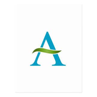 Alphabet A with a green leaf Postcard