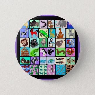Alphabet animals 2 inch round button
