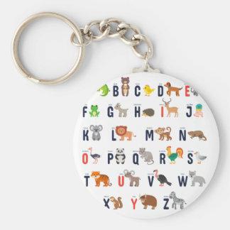 Alphabet Animals - super cute! Basic Round Button Keychain