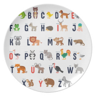 Alphabet Animals - super cute! Dinner Plates