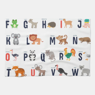 Alphabet Animals - super cute! Hand Towel