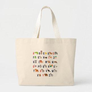 Alphabet Animals - super cute! Large Tote Bag