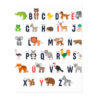 Alphabet Animals - super cute! Postcard