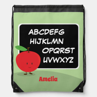 Alphabet Apple with Name | Drawstring Backpack