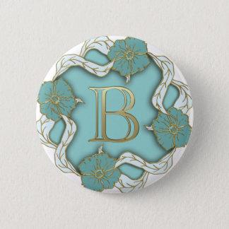 alphabet b monogram 2 inch round button