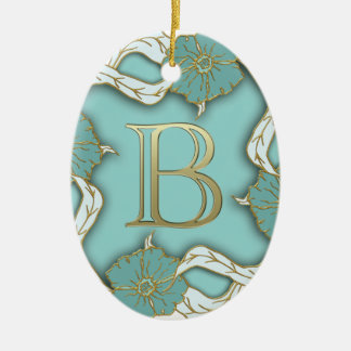 alphabet b monogram ceramic ornament