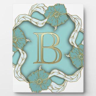 alphabet b monogram plaque