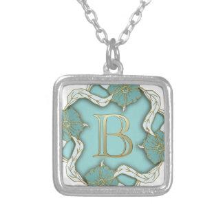alphabet b monogram silver plated necklace