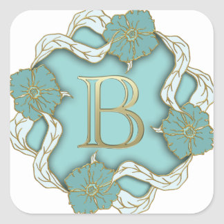 alphabet b monogram square sticker