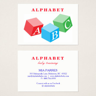 Alphabet Baby ABC Block Letters Training Business Card