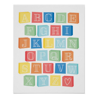 Alphabet Blocks Children's Modern Art Poster