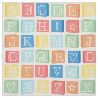Alphabet Blocks Modern Children's Colorful Fabric