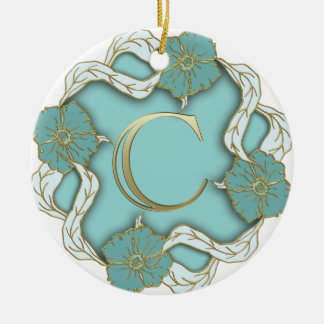 alphabet c  monogram round ceramic ornament
