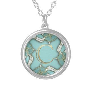 alphabet c  monogram silver plated necklace