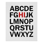 Alphabet HI print or poster in black and red