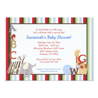 Alphabet Jungle Soup 5x7 Baby Shower Invitation