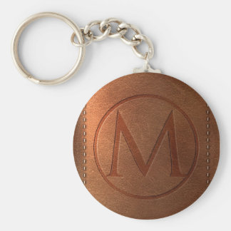 alphabet leather letter M Basic Round Button Keychain