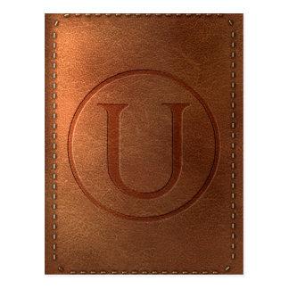 alphabet leather letter U Postcard