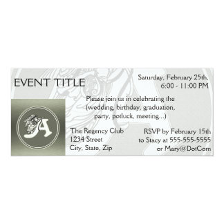 """alphabet letter A monogram initial with angel in s 4"""" X 9.25"""" Invitation Card"""