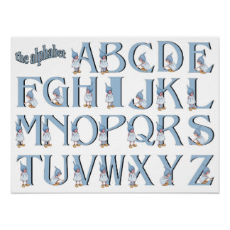 Alphabet: Letters with Little Gnome Girl, Blue Poster