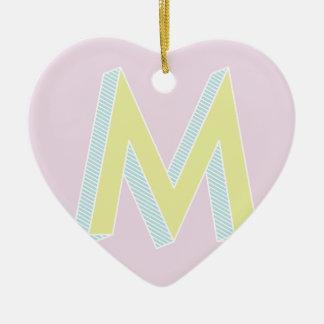 Alphabet_Mauve-12 Ceramic Heart Ornament