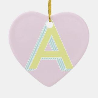Alphabet Mauve A Ceramic Heart Ornament