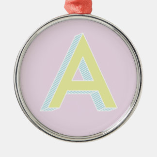 Alphabet Mauve A Metal Ornament