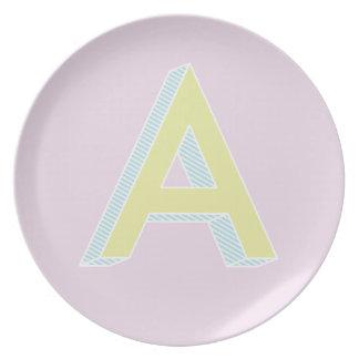 Alphabet Mauve A Plate